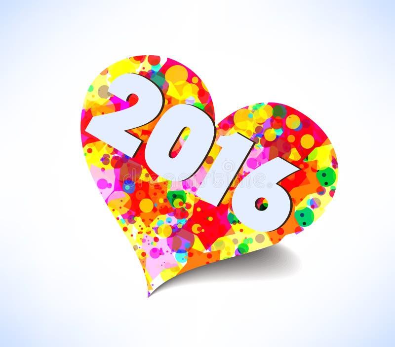 Καλή χρονιά 2016 αφηρημένη ζωηρόχρωμη καρδιά &al ελεύθερη απεικόνιση δικαιώματος