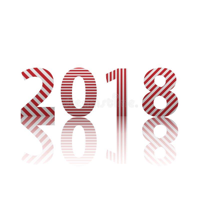 Καλή χρονιά 2018 Διανυσματική απεικόνιση σχεδίου κειμένων ελεύθερη απεικόνιση δικαιώματος