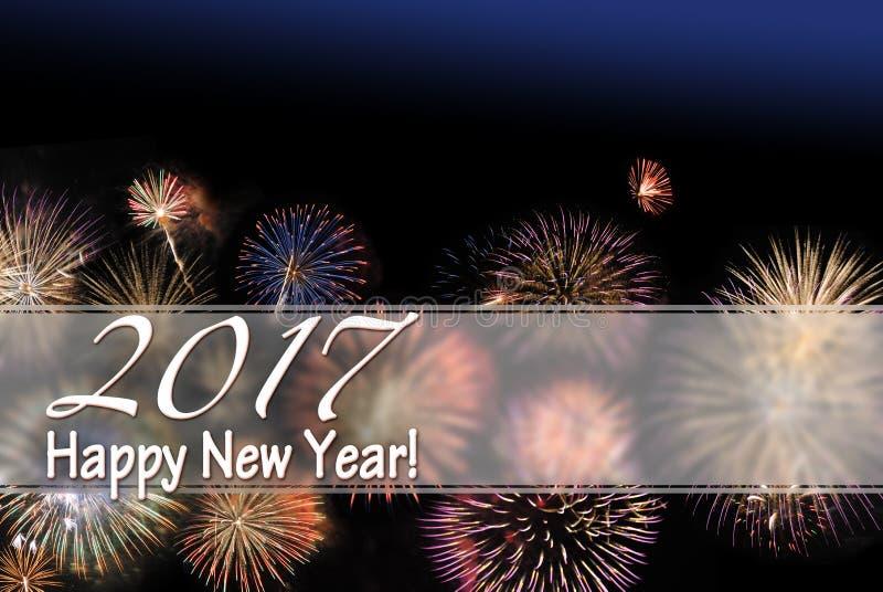 Καλή χρονιά 2017 κάρτα πυροτεχνημάτων και περιοχή κειμένων εμβλημάτων W Ιστού στοκ φωτογραφία με δικαίωμα ελεύθερης χρήσης