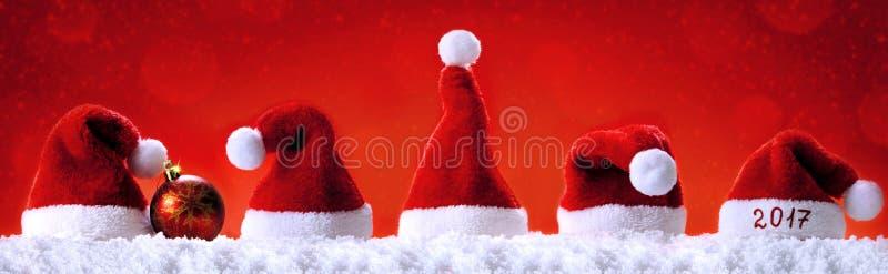 Καλή χρονιά 2017 καπέλα santa στοκ φωτογραφίες