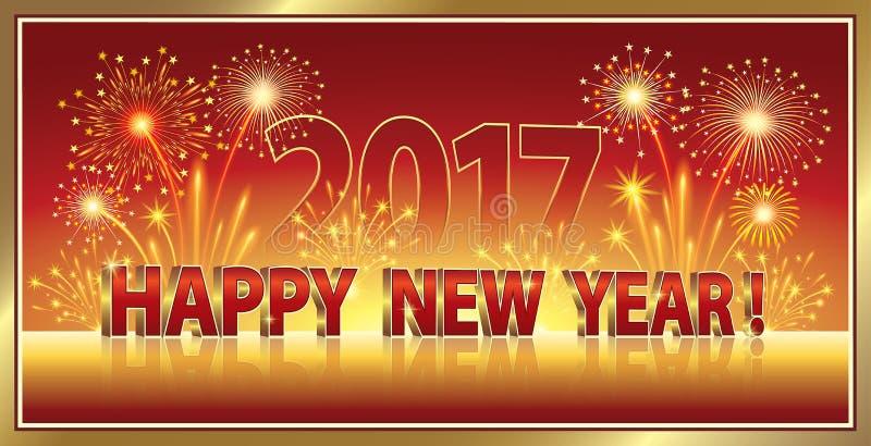 Καλή χρονιά 2017 με τα πυροτεχνήματα απεικόνιση αποθεμάτων