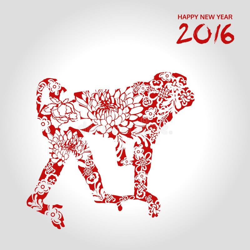 Καλή χρονιά, πίθηκος με το λουλούδι, κινεζικό ύφος, διανυσματική κάρτα διανυσματική απεικόνιση
