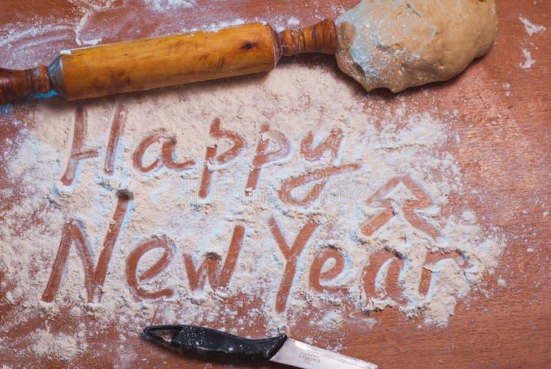 Καλή χρονιά που γράφεται στο αλεύρι, στοκ φωτογραφίες με δικαίωμα ελεύθερης χρήσης