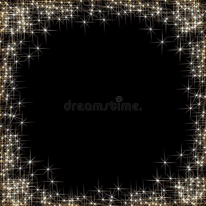 Καλή χρονιά, πλαίσιο με τα χρυσά αστέρια στο μαύρο υπόβαθρο απεικόνιση αποθεμάτων
