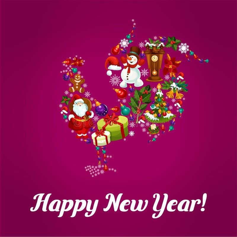 Καλή χρονιά του χαιρετισμού κοκκόρων κοκκόρων ελεύθερη απεικόνιση δικαιώματος