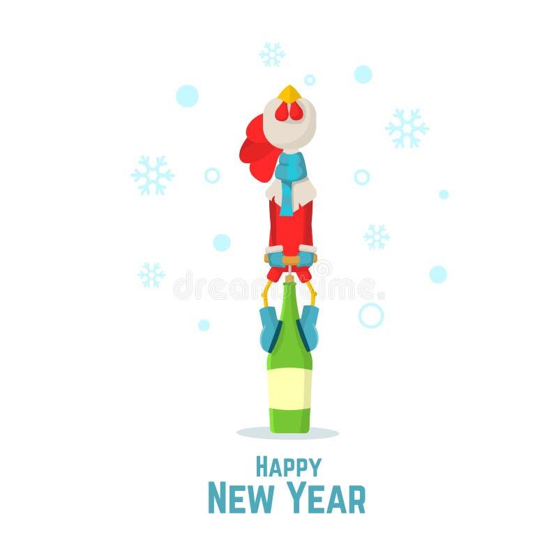 καλή χρονιά Το κόκκινο σύμβολο το 2017 κοκκόρων ανοίγει ένα μπουκάλι της σαμπάνιας Κόκκορας κινούμενων σχεδίων Επίπεδη διανυσματι ελεύθερη απεικόνιση δικαιώματος