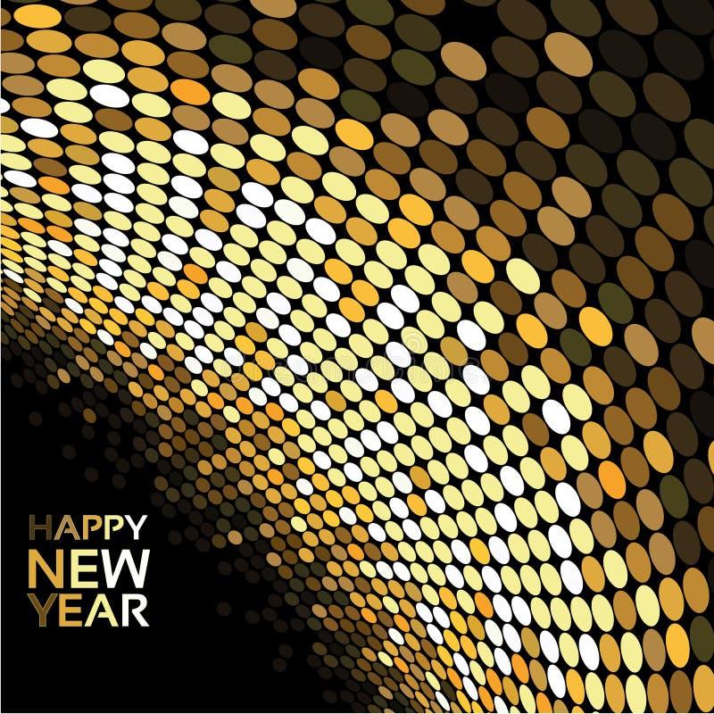 Καλή χρονιά - χρυσά φω'τα disco στο μαύρο υπόβαθρο, αφηρημένη ταπετσαρία ελεύθερη απεικόνιση δικαιώματος