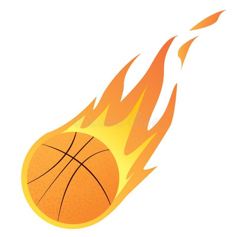 Καλαθοσφαίριση στην πυρκαγιά διανυσματική απεικόνιση