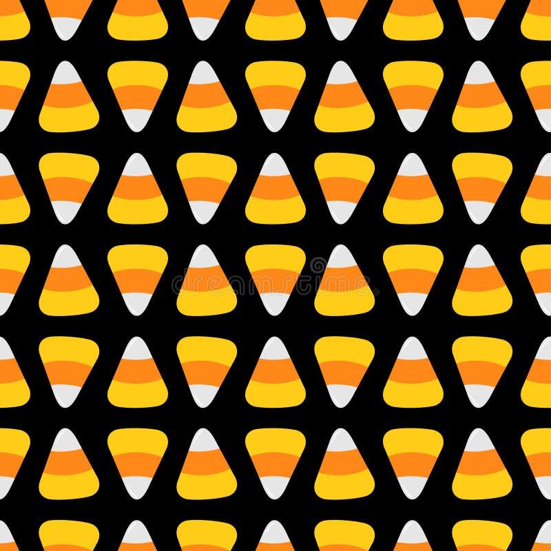 Καλαμπόκι καραμελών Ευτυχές μαύρο υπόβαθρο σχεδίων αποκριών άνευ ραφής Επίπεδο σχέδιο ελεύθερη απεικόνιση δικαιώματος