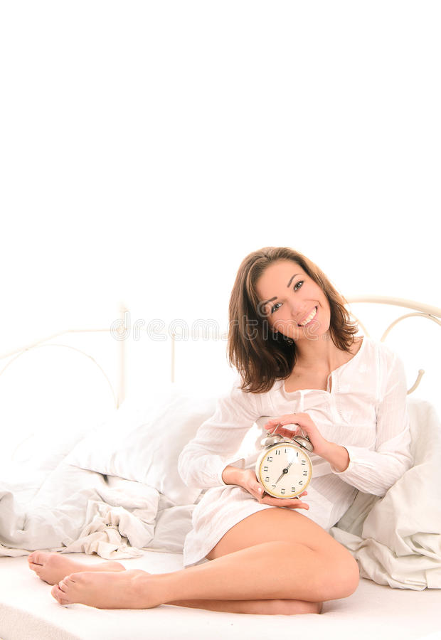 Καλημέρα για την αισθησιακή νέα γυναίκα στοκ εικόνες