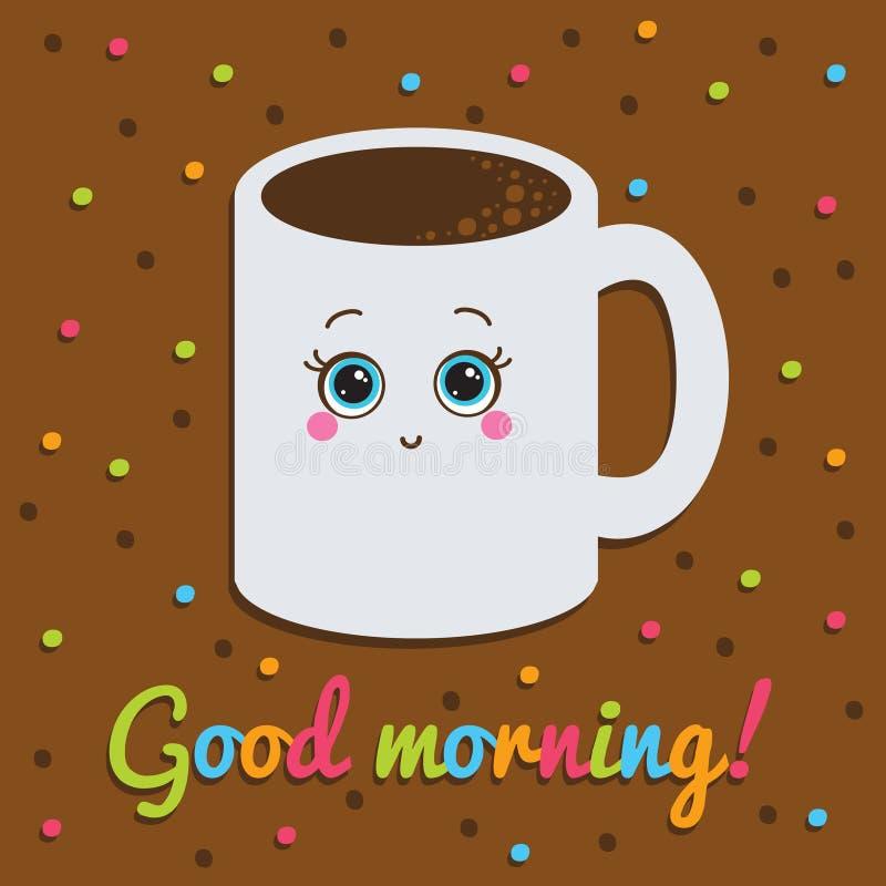 Καλημέρα, επιγραφή Κάρτα Χαμόγελο με το α διανυσματική απεικόνιση