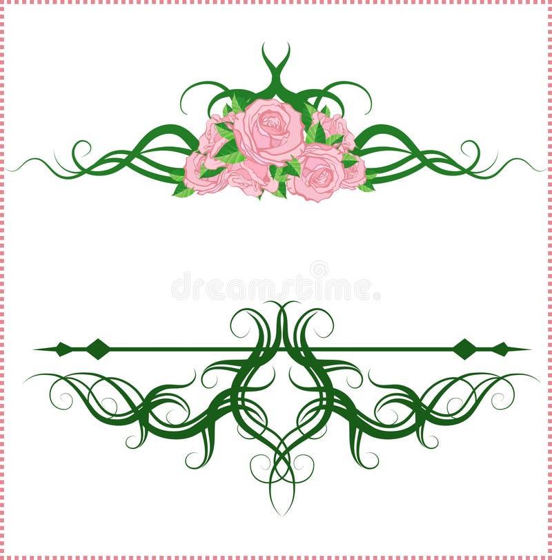 Καλλιγραφικά στοιχεία σχεδίου με τα τριαντάφυλλα διανυσματική απεικόνιση