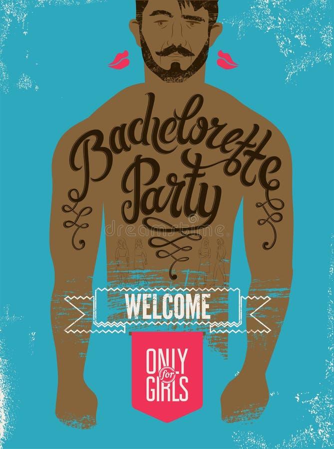 Καλλιγραφική αφίσα για το κόμμα bachelorette με μια δερματοστιξία σε ένα ανθρώπινο σώμα επίσης corel σύρετε το διάνυσμα απεικόνισ απεικόνιση αποθεμάτων