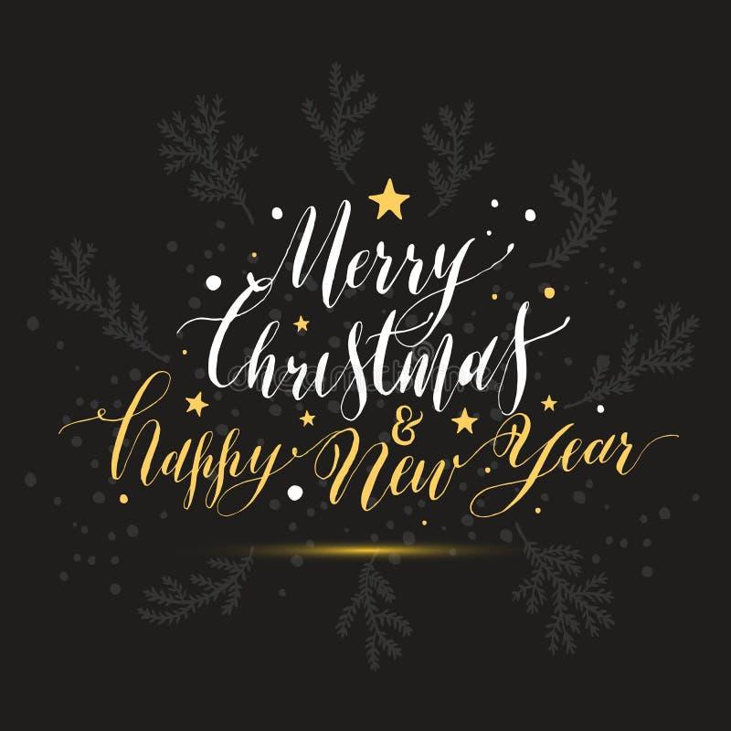 Καλλιγραφική Χαρούμενα Χριστούγεννα καλή χρονιά κειμένων με το χιόνι απεικόνιση αποθεμάτων