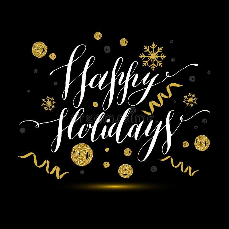 Καλλιγραφικό κείμενο καλές διακοπές με snowflakes και το κόκκινο τόξο Εκτάριο διανυσματική απεικόνιση