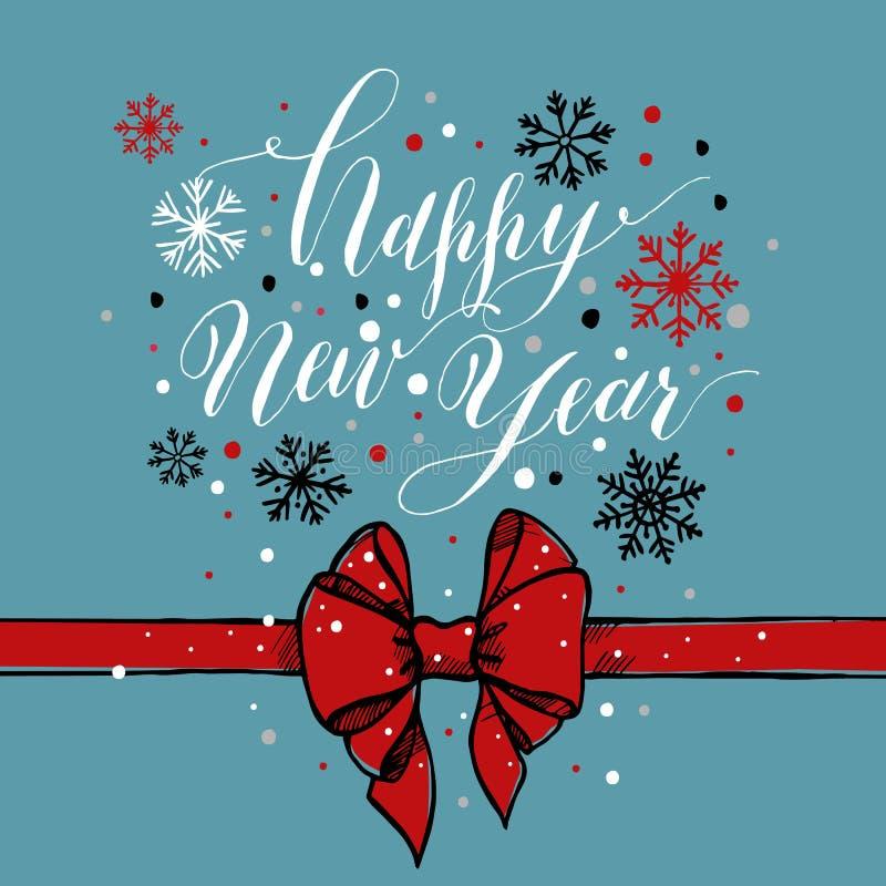 Καλλιγραφικό κείμενο καλή χρονιά με snowflakes και το κόκκινο τόξο διανυσματική απεικόνιση