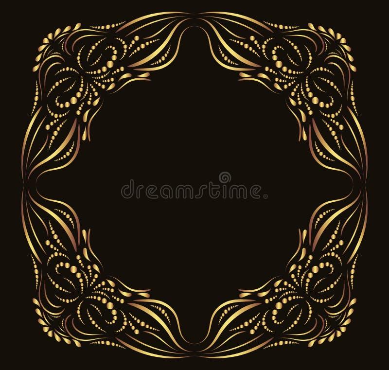 Καλλιγραφικό περίκομψο χρυσό διανυσματικό πλαίσιο διανυσματική απεικόνιση
