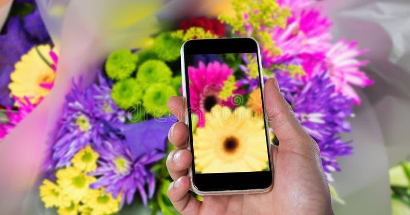 Καλλιεργημένο χέρι που φωτογραφίζει τα λουλούδια μέσω του έξυπνου τηλεφώνου στοκ εικόνες