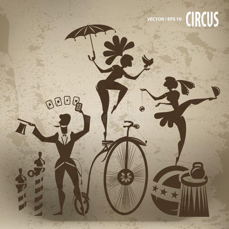Καλλιτέχνες τσίρκων διανυσματική απεικόνιση