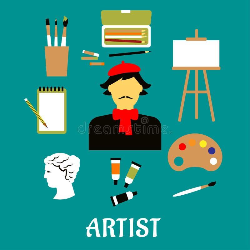 Καλλιτέχνης ή βιοτέχνης με τα εικονίδια τέχνης ελεύθερη απεικόνιση δικαιώματος
