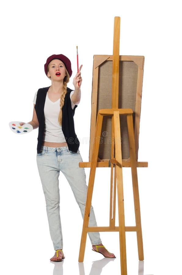 Download Καλλιτέχνης γυναικών που απομονώνεται στο λευκό Στοκ Εικόνα - εικόνα από ζωγραφική, arroyos: 62706899