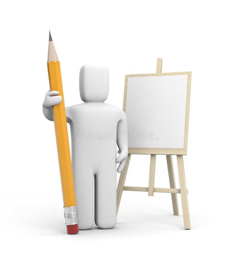 Καλλιτέχνης με το μολύβι διανυσματική απεικόνιση