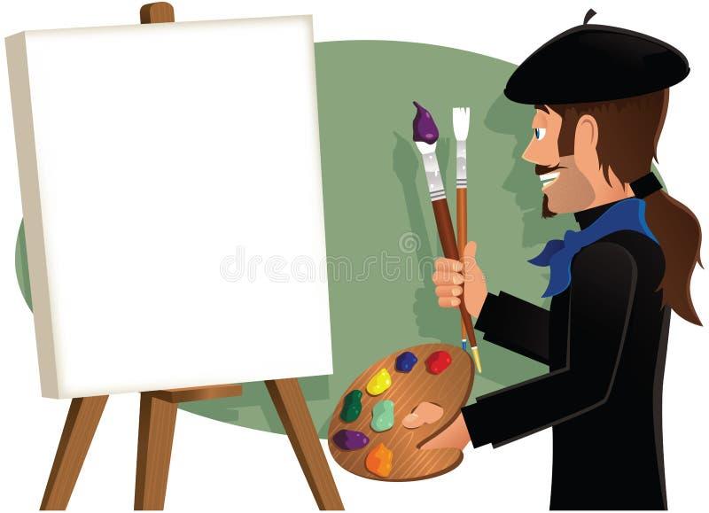Καλλιτέχνης που χρωματίζει έναν κενό καμβά ελεύθερη απεικόνιση δικαιώματος