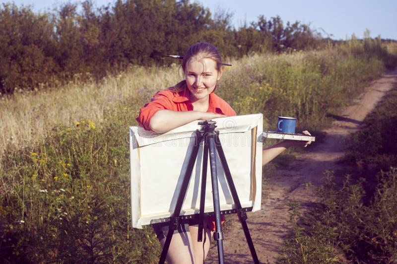 Καλλιτέχνης στο σαφή αέρα στοκ φωτογραφίες
