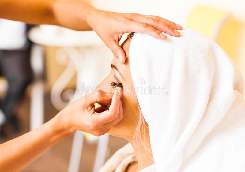 Καλλιτέχνης Makeup που προετοιμάζει τη νύφη πριν από το γάμο ένα πρωί στοκ εικόνα με δικαίωμα ελεύθερης χρήσης