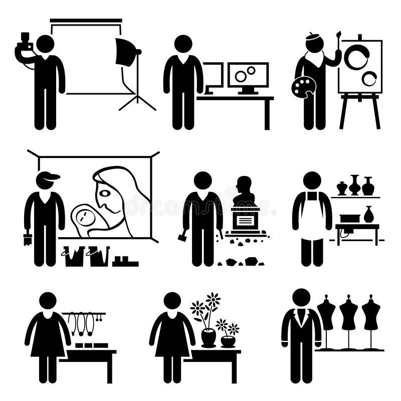 Καλλιτεχνικές σταδιοδρομίες επαγγελμάτων εργασιών σχεδιαστών ελεύθερη απεικόνιση δικαιώματος