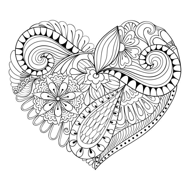 Καλλιτεχνική floral καρδιά doodle στο ύφος zentangle απεικόνιση αποθεμάτων