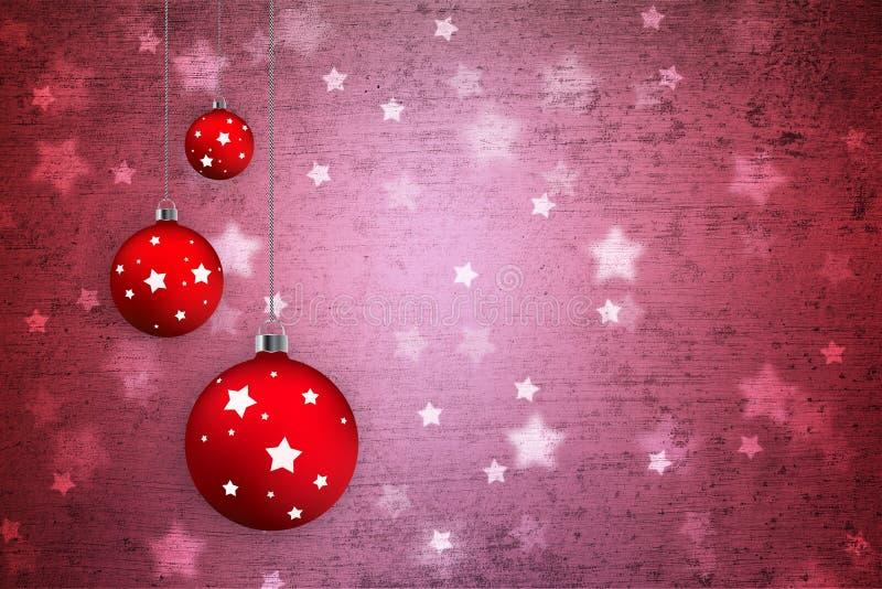 Καλλιτεχνικοί βολβοί Χριστουγέννων grunge κατασκευασμένοι διακοσμητικοί απεικόνιση αποθεμάτων