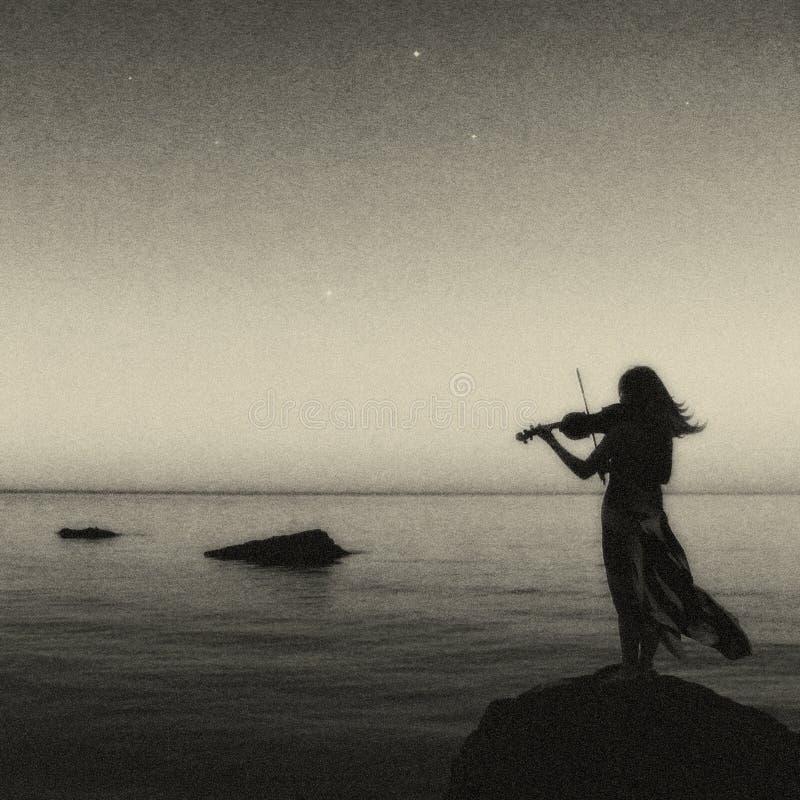 Καλλιτεχνικός violine φορέας που στέκεται στο βράχο στοκ φωτογραφία με δικαίωμα ελεύθερης χρήσης