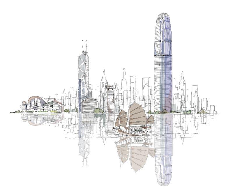Καλλιτεχνικό σκίτσο του κόλπου Χονγκ Κονγκ, συλλογή σκίτσων διανυσματική απεικόνιση