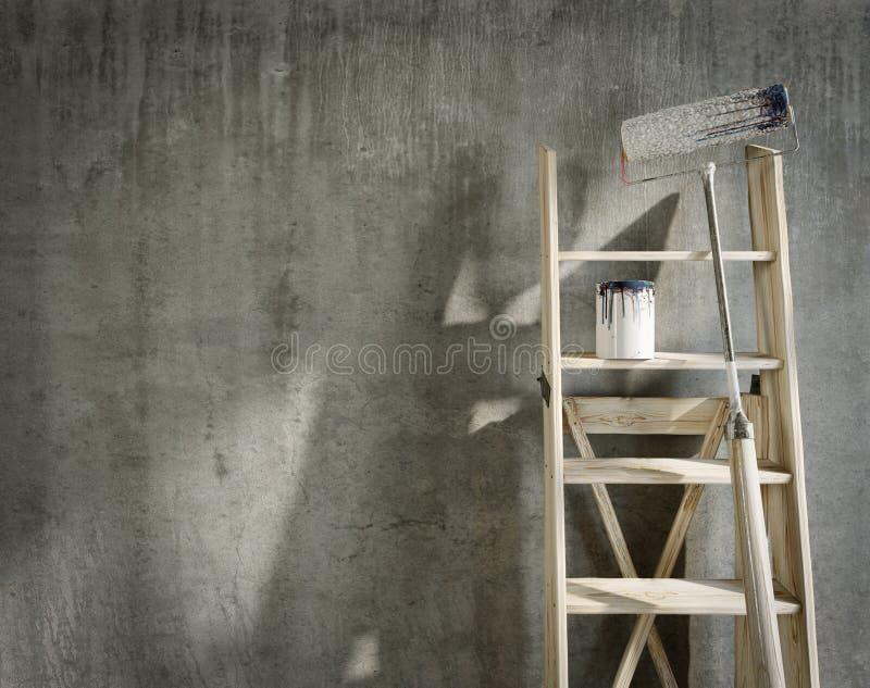 Καλλιτεχνικό σπίτι που επισκευάζει τη σύνθεση έννοιας με τη θέση για το λογότυπο στοκ εικόνες με δικαίωμα ελεύθερης χρήσης