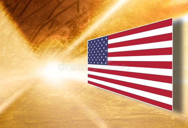 Καλλιτεχνικό υπόβαθρο επίδειξης οθόνης αμερικανικών σημαιών ελεύθερη απεικόνιση δικαιώματος