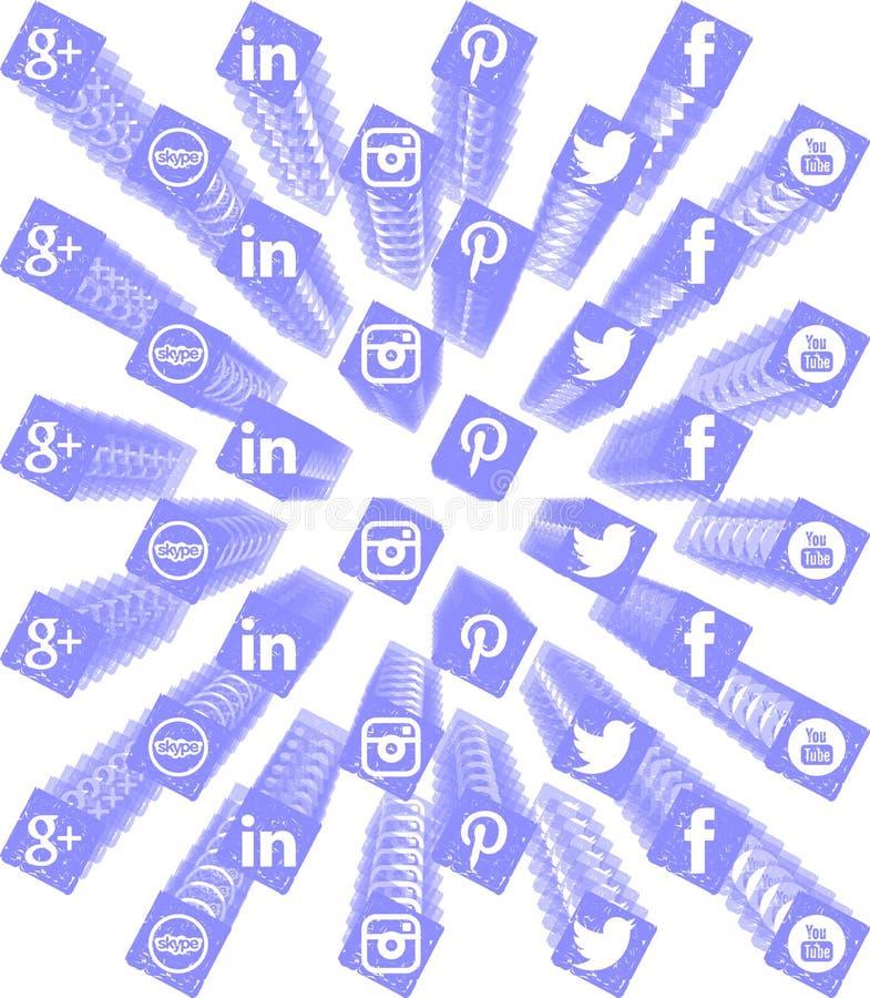 Καλλιτεχνικό υπόβαθρο με τα κοινωνικά εικονίδια δικτύων ελεύθερη απεικόνιση δικαιώματος