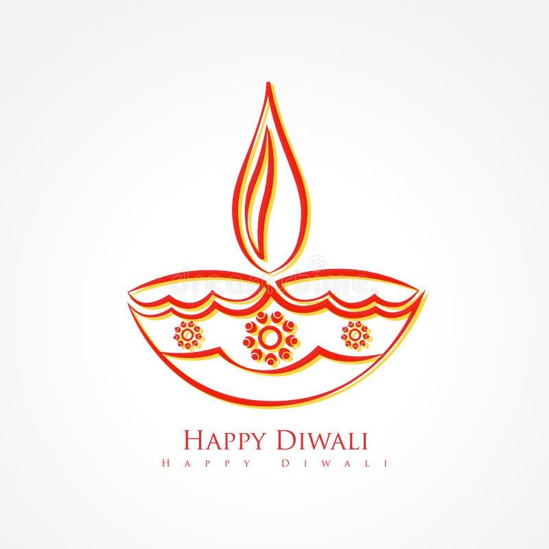 Καλλιτεχνικό diya diwali που απομονώνεται στο άσπρο υπόβαθρο διανυσματική απεικόνιση