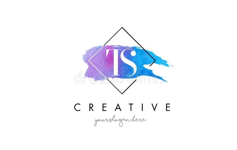 Καλλιτεχνικό Watercolor λογότυπο βουρτσών επιστολών TS διανυσματική απεικόνιση