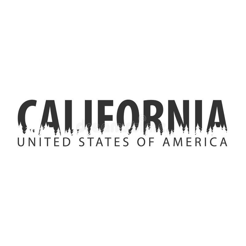 Καλιφόρνια ΗΠΑ η Αμερική δηλώνει ενωμένο Κείμενο ή ετικέτες με τη σκιαγραφία του δάσους διανυσματική απεικόνιση