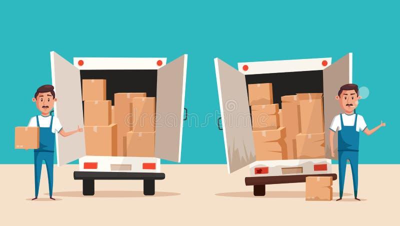 Καλοί και κακοί εργαζόμενοι σε ομοιόμορφο Επιχείρηση μεταφορών διανυσματική απεικόνιση