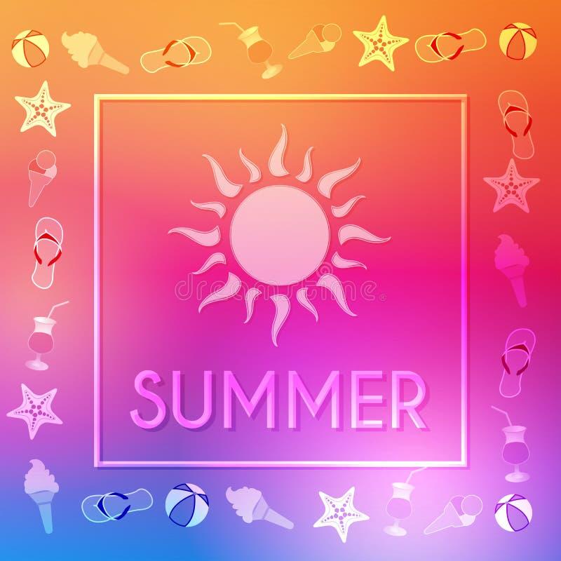 Καλοκαίρι με τον ήλιο και τα summery σύμβολα στο πλαίσιο διανυσματική απεικόνιση
