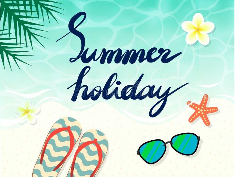 Καλοκαιρινές διακοπές εγγραφής χεριών στην παραλία για το έμβλημα υποβάθρου και άλλο στοιχείο σχεδίου Διάνυσμα αποθεμάτων διανυσματική απεικόνιση