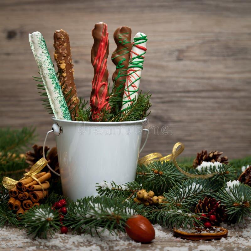 καλυμμένα σοκολάτα pretzels στοκ εικόνες με δικαίωμα ελεύθερης χρήσης