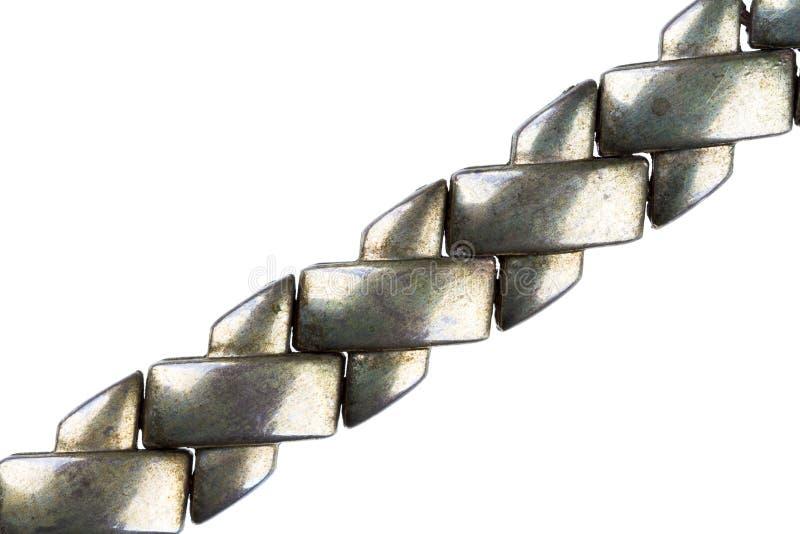 Καλυμμένη ασήμι λεπτομέρεια αλυσίδων στοκ φωτογραφίες