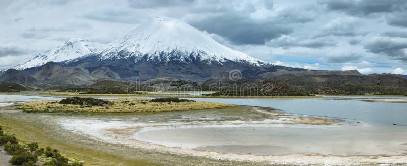 Καλυμμένο χιόνι ηφαίστειο Parinacota στοκ φωτογραφία