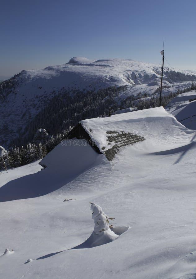 καλυμμένο χιόνι σπιτιών στοκ φωτογραφία με δικαίωμα ελεύθερης χρήσης