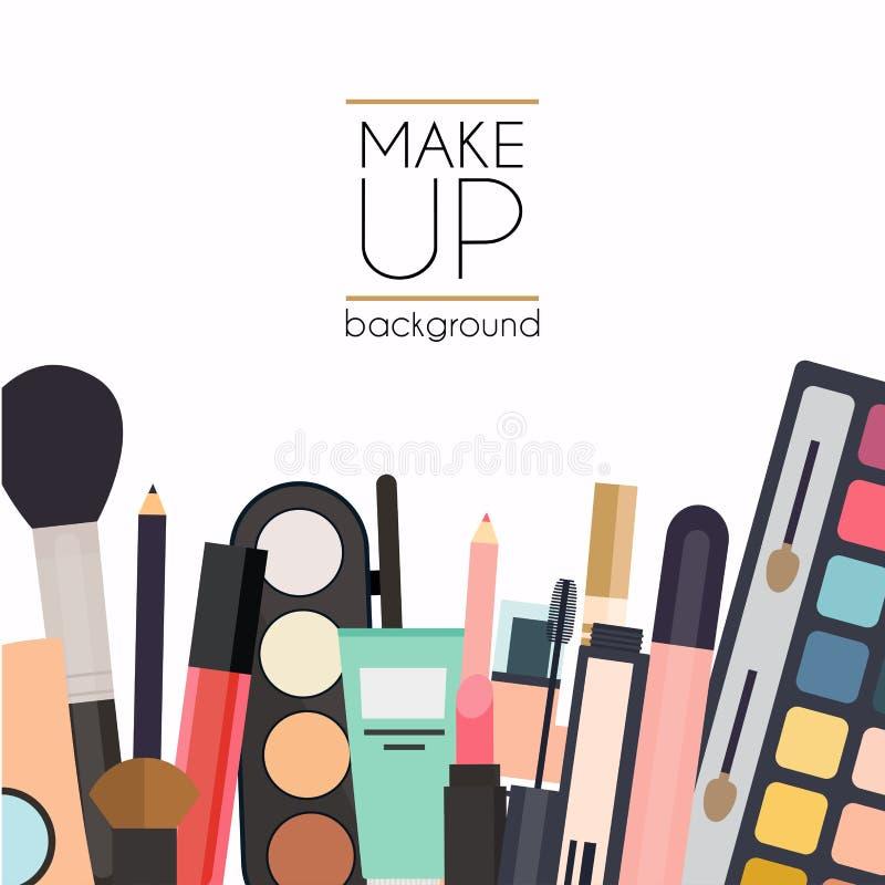 Καλλυντικά και βούρτσες Makeup στο άσπρο υπόβαθρο Κραγιόν, eyesh απεικόνιση αποθεμάτων