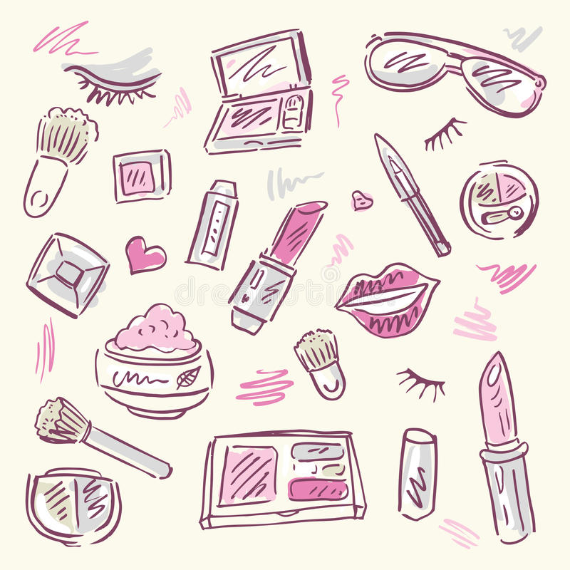 Καλλυντικά.  Σύνολο Makeup. διανυσματική απεικόνιση