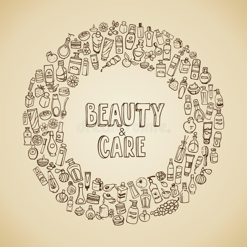 Καλλυντικά Doodle και self-care εικονίδια ελεύθερη απεικόνιση δικαιώματος